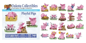 Dakota Collectibles 970452 Playful Pigs Embroidery Machine Designs CD