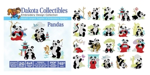 Dakota Collectibles 970471 Pandas Multi-Formatted CD Embroidery Machine Designs