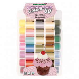 42400: Madeira 9350 Incredible Threadable Box 42 Spools Cotona Cotton 50wt Quilting Thread Kit