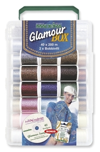 42403: Madeira 20928060 Incredible Threadable Glamour Metallic Embroidery Thread Kit 40 Spools x220Yd 12wt