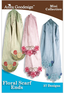 Anita Goodesign 108MAGHD Floral Scarf Ends Mini Collection Multi-format Embroidery Designs CD 37 Designs