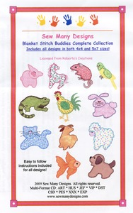 Sew Many Designs Blanket Stitch Buddies Applique Collection Multi-Formatted CD
