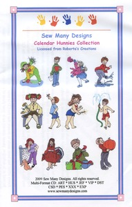 Sew Many Designs Calendar Hunnies Applique Collection Multi-Formatted CD