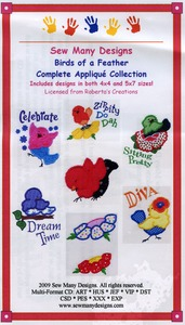 Sew Many Designs Birds Of A Feather Collection Applique Collection Multi-Formatted CD