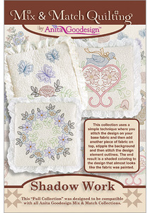 Anita Goodesign 223AGHD Shadow Work Full Mix & Match Multi-format Embroidery Design Pack on CD 20 Designs 4 Sizes