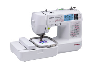 "Simplicity, Brother, SB7500, demo, 98 Stitch, Sewing, and 4x4"", Embroidery, Machine, Auto Threader, & Trimmer, 70 Designs, +100 on CD, 5 Fonts, 120 Border Frames, 7 Feet"