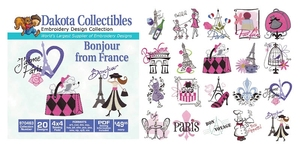 Dakota Collectibles 970463 Bonjour From France Multi-Formatted CD Embroidery Machine Designs