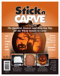 "Sulky 457-30 Stick'nCarve 3-8.5x11"" Printable Pumpkin Carving Templates for Halloween"