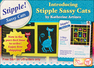 DIME STP0113 Nine Sassy Cats Stipple Quilt Block Embroidery Designs by Katherine Artines on CD