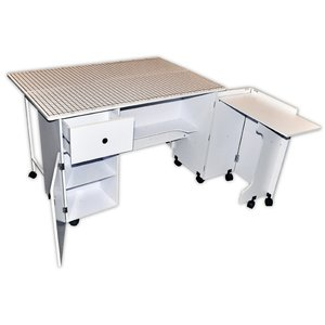 Sullivans 38434 Quilters Design Dual Sewing Machine Cabinet, School Desk  With Gridded Top Cutting Table