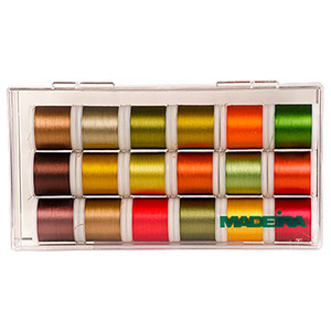 Madeira 8040AC 18 Spools x 220Yd Fall Colors Rayon Embroidery Thread Kit 40wt