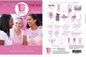 OESD 12305H Pink Ribbon Awareness Design Multiformat Embroidery Design CD