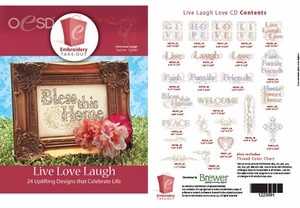 OESD 12298H Live Laugh Love 24 Designs Multiformat Embroidery CD