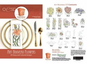 OESD 12285H  Art Nouveau Flowers Multiformat Embroidery Design CD