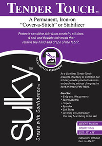 """Sulky Tender Touch  20"""" x 36"""" lightweight Permanent Stabilizer (White)"""