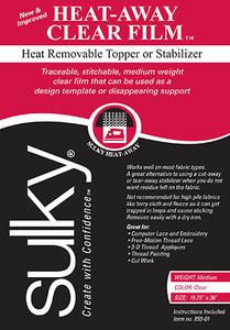 "Sulky Heat-Away Clear Film 19 3/4"" x 1yd Heat-Away Clear Film Stabilizer"