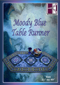 Kenny Kreations Moody Blue Table Runners Multiformat Embroidery Design CD