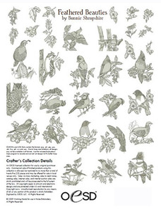 OESD FEATHERED BEAUTIES BY BONIE SHROPSHIRE Embroidery Design Pack on USB Stick