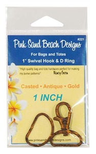 Pink Sand Beach Designs 1 inch Swivel Hook and D-Rings Antique Gold