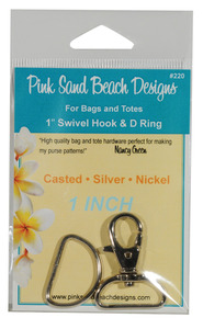 Pink Sand Beach Designs PSB220, 1 inch Swivel Hook and D-Rings - Casted Silver for Bags and Totes