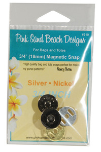 Pink Sand Beach Designs PSB210, 3/4 inch (18mm) Magnetic Snap - Silver Nickel for Bags and Totes