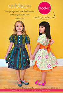 modkid Addison: Vintage-Style Dress with Bubble Sleeves Sewing Pattern