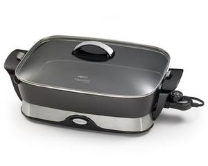 "Presto 06857 16"" Electric Foldaway* Skillet, Spout is Spoon Rest, Tempered glass cover, Fold down handles to detach skillet pan from base."