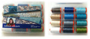 Aurifil SN50SC12 Seascape Collection 12 Large 1422 Yard Spools Thread Kit 50wt, Cotton Mako Thread Kit 50wt by Sheena Norquay