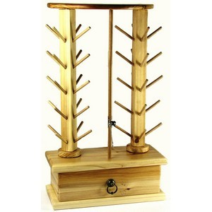 AlphaSew P60690 40 Spool Small Wood Tree Thread Rack Stand plus Drawer