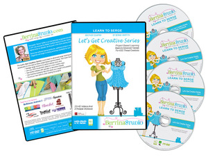 Bertina Studio Let's Get Creative, Learn to Serge 4 Threads, 3 DVDs +1 CD