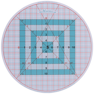 """Martelli TM17R 16"""" Round Cutting Mat 1/4"""" Gridded, 6-45º Angles for use with Turn Table"""