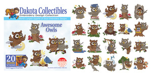 Dakota Collectibles 970395 Awesome Owls Multi-Formatted CD Embroidery Machine Designs