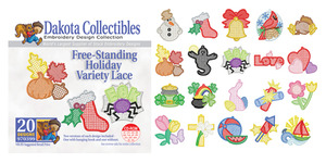 Dakota Collectibles 970399 Holiday Variety Lace Multi-Formatted CD Embroidery Machine Designs