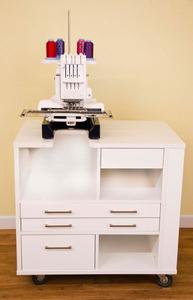Arrow 9301B Ava B #1 PR Embroidery Machine Cabinet White, 4 Drawers, HD Casters, for Brother PRS100, PR600's, PR1000, PR1050X, Babylock, Valient BMV10