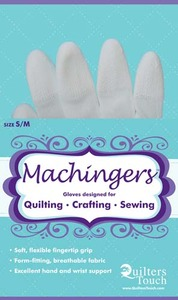 Quilters Touch 7243S Small Medium Machingers Seamless Nylon Knit Gloves to Hold Fabric, Hoops or Rulers in Free Motion Quilting