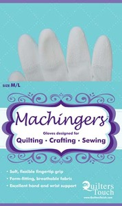 Quilters Touch 7243L Medium/Large Machingers Seamless Nylon Knit Gloves  to Hold Fabric, Hoops or Rulers in Free Motion Quilting