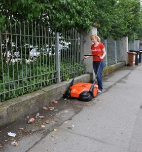 """HAAGA 677 31"""" Battery powered Triple Brush Push Power Outdoor Indoor Sweeper, 13.2  gallon debris container, brush height adjustment, Germany"""