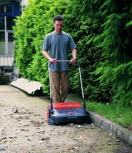 "HAAGA 475 30"" Wide, Triple Brush Push Power Outdoor Indoor Sweeper, 13.2 Gallon Debris Container, brush height adjustment, made in Germany"