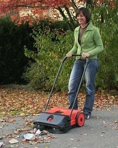 "HAAGA 255 21"" Dual Brush Push Power Outdoor Indoor Sweeper, Made in Germany"