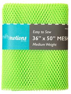 "Nifty Notions NN1232 Mesh Fabric Medium Weight, Lime Green 36"" x 50"""