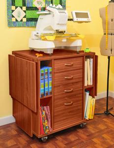 Kangaroo K9205 Wombat Cabinet Stand Teak for Brother PRS100, PR600, PR620, PR650, PR655, PR1000, PR1050x, and Babylock Models