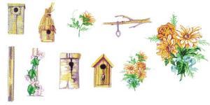 Balboa Threadworks 64P Bird Houses & Garden 1 4x4 Embroidery Disks