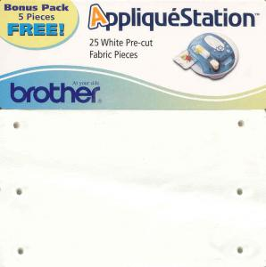 Brother TAC2011 25 White Pre Cut Iron On Adhesive Fabrics Pieces Sheets for E100 Applique Station, Bonus Pack 5 Pieces
