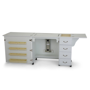 55932: Arrow 351 Norma Jean Sewing Machine Cabinet White, Air Lift Platform