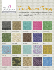 Anita Goodesign PRPL02 Free Motion Frenzy Premium Plus Collection Multi-format Embroidery Designs CD