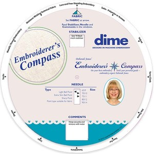 59226: Deborah Jones EC002 Embroiderers Compass Guide, from Fabrics to Correct Stabilizers, Needles