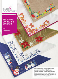 Anita Goodesign 271AGHD Seasonal Corners and Borders Multi-Format Embroidery Design CD