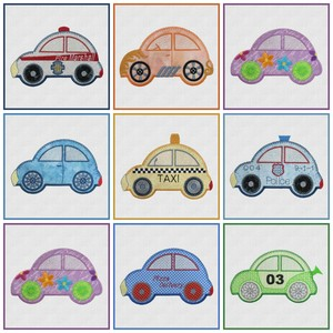 AccuQuilt MBME55354 GO! Cute Car 8 Embroidery Designs CD,  fire marshal, flower car, hot rod, pizza delivery, police, race car, sedan and taxi
