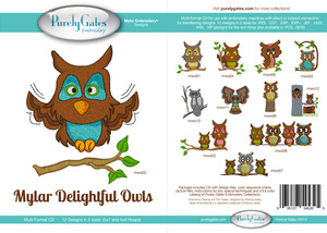 Purely Gates PG5325 Mylar Delightful Owls Embroidery Designs CD