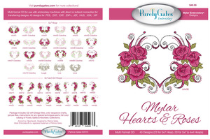 Purely Gates PG5233 Mylar Hearts & Roses Embroidery Designs CD